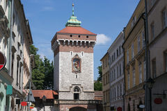 Medieval tower of the Florian Gate in Krakow, Poland. Royalty Free Stock Photo