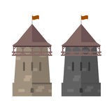 Medieval tower of fortified wall - stronghold Stock Image