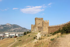 Medieval Tower in the Genoese fortress in Sudak, Crimea. Stock Image