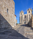The Medieval Tower on the left and the Porto Cathedral seen through the Dom Pedro Pitoes Street Stock Photo