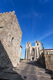 The Medieval Tower on the left and the Porto Cathedral seen through the Dom Pedro Pitoes Street Stock Image