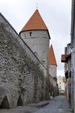 Medieval tower, part of the city wall, Tallinn, Estonia.  royalty free stock photo
