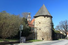 Medieval tower in Prachatice Stock Photo