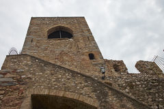 Medieval tower. With ramp, Padenghe castle Garda lake Italy royalty free stock image