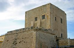 Medieval tower in Sicily stock image