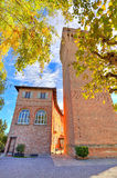 Medieval tower in small italian town. Royalty Free Stock Image
