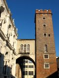 Medieval tower in Vicenza, Italy. Palladian Basilica and medieval tower in Vicenza, Italy Stock Photography