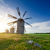 Medieval tower windmill on the countryside Stock Image
