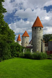 Medieval towers. Old towers being part of an ancient Tallinn city wall Royalty Free Stock Photography