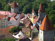 Medieval towers of the old city wall of Tallinn, Estonia Stock Photos