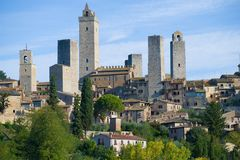 Medieval towers of San Gimignano close-up on a sunny September morning. Italy. Medieval towers of San Gimignano close-up on a sunny September morning, Italy Royalty Free Stock Photo