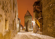 Medieval towers and streets of old Tallinn, Estonia Stock Images