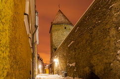 Medieval towers and streets of old Tallinn, Estonia Stock Photo