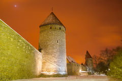 Medieval towers and streets of old Tallinn, Estonia Royalty Free Stock Photo