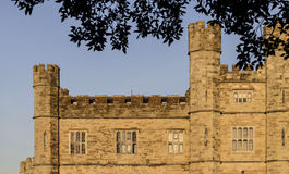 Medieval Towers, Turrets and Ramparts. The upper floor of beautiful Leeds Castle in Kent, England bathed in an evening glow Royalty Free Stock Images