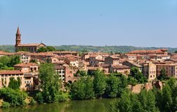Medieval town of Albi and Tarn river. Righ bank of the medieval old town of Albi and Tarn river, France Stock Photo
