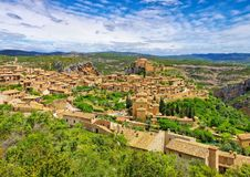 The medieval town of Alquezar, Spain royalty free stock photography