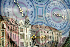 Medieval town & astronomical clock royalty free stock photography