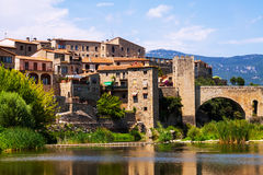 Medieval town on the banks of the river Royalty Free Stock Photos