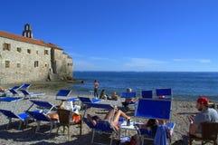 Medieval town beach,Budva,Montenegro Stock Images