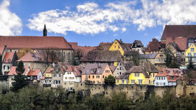 Medieval town beyond the pinion wall. View of the medieval town beyond the pinion wall. Rothenburg, Bavaria, Germany Stock Images