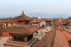 The medieval town of Bhaktapur. Bhaktapur, Nepal - March 28, 2015 : The well-preserved medieval town of Bhaktapur has many historic temples and is popular with Royalty Free Stock Photos