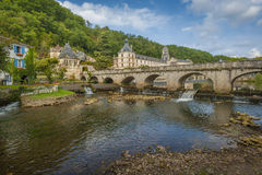 Medieval town of Brantome. In the Dordogne department in France Stock Images