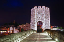 Medieval town with bridge. Besalu,  Spain Royalty Free Stock Image