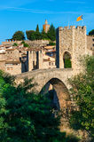 Medieval town with bridge. Besalu,  Spain Stock Photography