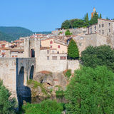 Medieval town with bridge. Besalu,  Spain Royalty Free Stock Image
