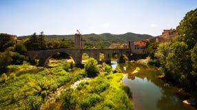 Medieval town with bridge. Besalu Royalty Free Stock Photo