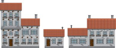 Medieval town buildings set Royalty Free Stock Photos