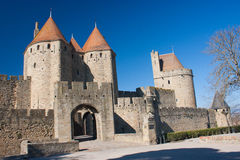 The medieval town of Carcassonne. Entrance of the medieval town of Carcassonne in France Royalty Free Stock Image