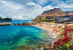 Medieval town of Castelsardo, Province of Sassari, Sardinia, Italy. Medieval town and beach of Castelsardo, Province of Sassari, Sardinia, Italy stock images