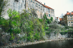 Medieval town of Cesky Krumlov and the Vltava river Royalty Free Stock Photography