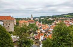 Medieval town Cesky Krumlov and Vltava River Stock Photos