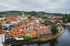 Medieval town Cesky Krumlov and Vltava River Royalty Free Stock Images