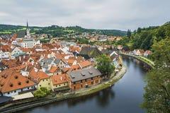 Medieval town Cesky Krumlov and Vltava River Royalty Free Stock Photo