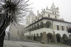 Medieval Town in fog Stock Photography
