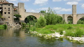 Medieval town with gate on bridge. Besalu, Catalonia stock video