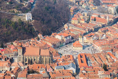 Medieval town with gothic church Royalty Free Stock Photo