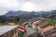 Medieval town Gruyeres, in the canton of Fribourg , Switzerland stock photography