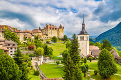 Medieval town of Gruyeres, Fribourg, Switzerland. Beautiful view of the medieval town of Gruyeres, home to the world-famous Le Gruyere cheese, canton of Fribourg Royalty Free Stock Image