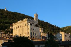 Medieval Town Gubbio in Umbria- Palazzo dei Consoli. In Italy Royalty Free Stock Image