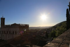 Medieval Town Gubbio in Umbria- Palazzo dei Consoli Stock Photo