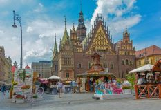 Wroclaw old town in summer view of townhall royalty free stock photography