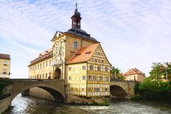 Medieval town hall on the bridge Bamberg Bavaria Stock Photography