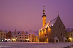 Medieval Town Hall in the central square in the early March morning. Tallinn, Estonia Royalty Free Stock Image