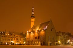 Medieval Town Hall in the central square in the March evening, Tallinn. TALLINN, ESTONIA - MARCH 08, 2018: Medieval Town Hall in the central square in the March Royalty Free Stock Image