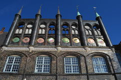 Medieval town hall of the Hanseatic City of Lübeck Royalty Free Stock Images